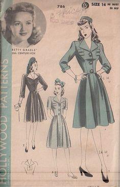 Cả thập niên 40 là thời gian của Thế chiến thứ II, do đó, phong cách thời trang của thập niên này mang đậm tính quân phục, trang phục trở nên nam tính và mạnh mẽ hơn, váy thường có xếp li và làm bằng chất liệu tiết kiệm. Nhưng làm cho người phụ nữ trở nên năng động, trong thời kỳ mà họ phải đảm đương những công việc của nam giới khi trai tráng đi lính hết, khiến cho vị trí người phụ nữ trong xã hội được coi trọng hơn.