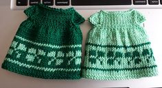 I made the March dresses for my bunnies using the basic Seasonal Dresses pattern from Julie Williams, with my own shamrock chart. I used leftover fingering weight wool.