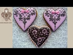 Elegant cookies for Valentine's Day. Cookie decorating with ro. Valentines Day Desserts, Valentine Cookies, Easter Cookies, Birthday Cookies, Holiday Cookies, Lace Cookies, Flower Cookies, Royal Icing Cookies, Heart Cookies
