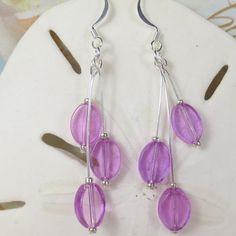 Pink glass ovals dangle earrings  pink triple ovals by beadwizzard, $6.00