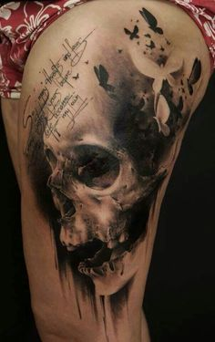 Skull butterfly quote black and grey thigh piece