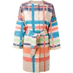 Tsumori Chisato Plaid Belted Coat (£740) ❤ liked on Polyvore featuring outerwear, coats, belt coat, belted coat, wool blend coat, multi colored coat and tartan coat