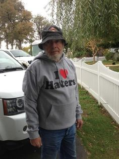 Merle Haggard in an I <3 Haters hoodie | The 31 Most Country Moments That Ever Occurred