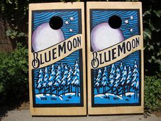 Blue Moon Custom Corn hole boards.  There are some corporate logos that are too precise for hand painting, they are best done by a printer. There are others, like blue moon's that are really added to by the nuance hand painting brings. These are spectacular examples of custom corn hole board craftsmanship.  These boards were actually not bought for a company though I believe these were actually for a special boyfriend on his birthday by one great girl.