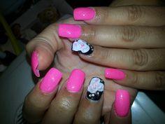 Pink rose nail art design