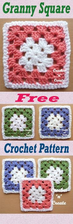 Free crochet pattern for simple crochet granny square. #crochet