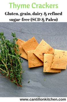 Thyme and Sea Salt Healthy Crackers - What Are Carbs, Healthy Crackers, Specific Carbohydrate Diet, Vegetarian Paleo, Appetizers For Party, Cravings, Food, Party Snacks, Eten