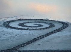 Spiral Jetty on the Great Salt Lake I'm fascinated with this. One of these days I'm gonna drive up and see it for myself.