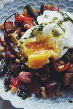 Farmer's Market Hash with Poached Eggs   blogggingoverthyme.com