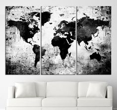 Black White World Map Canvas Print - Contemporary 3 Panel Triptych Gray Abstract Extra Large Wall Art