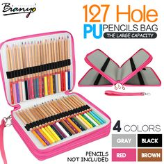 Monoshop 72 Holder 3 Layer PU Leather Colored Pencil Case Gel Pen Case Large Capacity Pencil Bag with Zipper for Art Supplies