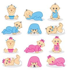 Baby boys and baby girls on VectorStock