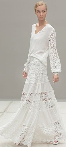 Alexis S/S 2014 ~ Liu and Dunn white lace maxi skirt /kc