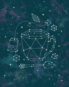 Tea Time Constellation Art Print by Ello Lovey   Society6