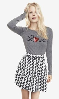 BATEAU NECK SEQUIN GRAPHIC SWEATER - LOVE from EXPRESS - I like it better with the pink/red skirt