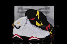Kids Jordan 7 Cardinals Retro Shoes In White - Black/Cardinal Red - Bronze Colorways Discount Kids Clothes Online, Kids Shoes Online, Jordan Shoes Online, Jordan Shoes For Kids, Kids Running Shoes, Air Jordan Shoes, Jordan 7, Michael Jordan