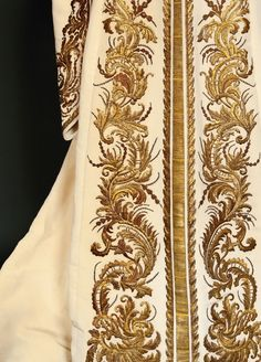 Russian court dress belonged to Empress Alexandra Feodorovna, spouse of Nicholas II. Embroidered detail of the skirt.