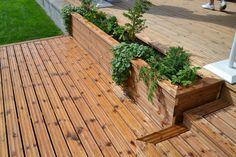 Terassikasvilaatikkko // MadeInKoti: terassi Garden Doors, Terrace Garden, Deck Design, Backyard Landscaping, Pergola, Planters, New Homes, Cottage, Exterior