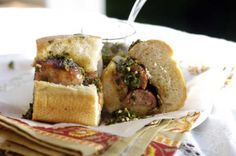 Choripan is the ultimate Argentine street food. It's simple, but oh-so-delicious: baguette + chorizo + chimichurri, et voila!