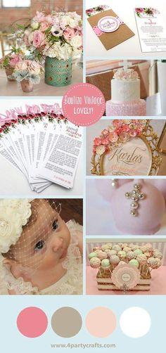 Vintage baby pink party invitation/ Fiesta vintage para bebe rosa invitacion