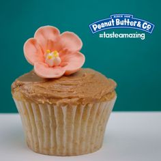White Chocolate Peanut Butter Frosted Flower Cupcake #tasteamazing