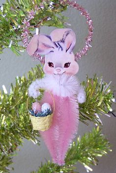 Easter Rabbit  Vintage Style Feather Tree Chenille Ornament Decoration
