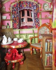 inside the gypsy wagon - miniature