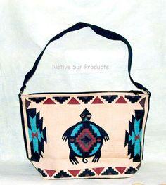 "Purse Handbag Southwest TURTLE  Cotton Canvas Lg 13x19"" w/ flat bottom Zips close new &21.95 w/ free shipping #Handbag #purse #turtle"