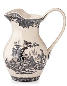 Black Toile Pitcher ~ Even mundane chores like laundry and goat grooming look idyllic on Burton & Burton's 10-inch-high stoneware vessel.
