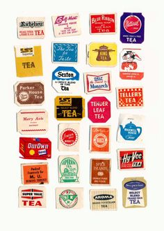"""publiccollectors: """"A collection of tags from old tea bags, featured as part of a conversation in the Public Collectors book, published by Inventory Press. You can purchase the book here and all orders come with extra free Public Collectors printed. Typography Logo, Graphic Design Typography, Graphic Design Illustration, Badge Design, Logo Design, Tea Labels, Label Shapes, Tea Brands, Tea Art"""