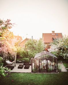 A greenhouse and a hammock? Sign me up for this beautiful backyard! A greenhouse and a hammock? Garden Cottage, Home And Garden, Greenhouse Gardening, Greenhouse Wedding, Greenhouse Plans, Vegetable Gardening, Garden Stones, Garden Paths, Dream Garden