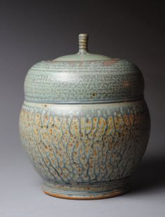 Clay Covered Jar  Acorn Blue Ash and Green P30 by JohnMcCoyPottery, $135.00