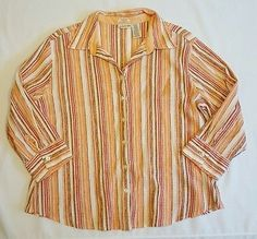 Women's St Johns Bay Crinkle Striped 3/4 Sleeve Button Up Top Size XL Petite |eBay Shopping, office career top