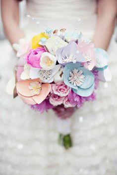 pastel, artificial wedding bouquet
