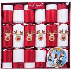 CHRISTMAS Box of six Racing Reindeer game Christmas crackers