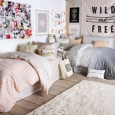 Dorm Room or Teenage Girl Room Inspo Dream Rooms, Dream Bedroom, Girls Bedroom, Twin Bedroom Ideas, Sibling Bedroom, Sister Bedroom, Teen Girl Bedding, Gray Bedding, Neutral Bedding