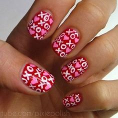 LOVE ON THE LINE XOXO KISSES & HUGGS - romantic nail art designsBest & Beautiful Nail Art Designs & Ideas to Spice up your Valentines Day  (2)