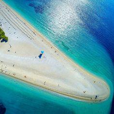 One of Eupore's most gorgeous beaches!  Zlatni Rat, Brač, Croatia  AwesomeTravelDestinations.com/vacation  #awesometraveldestinations #travel #croatia #beach