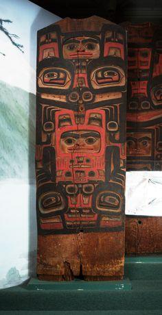House Posts (4) Klukwan (Id: 31-29-13.jpg) Culture: Tlingit. Clan: Kaagwaantaan, Finned House. Place: Klukwan. Date collected: 10/30/1930. Material: Wood, pigment. Width: 80.8 cm. Length: 221.7 cm.