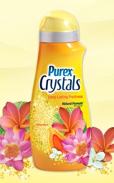 Purex Crystals - Tropical Splash scent. These 87% natural crystals go in at the start of the wash, so they spend more time infusing laundry with long-lasting tropical freshness. #ScentsationalSpringWithPurex