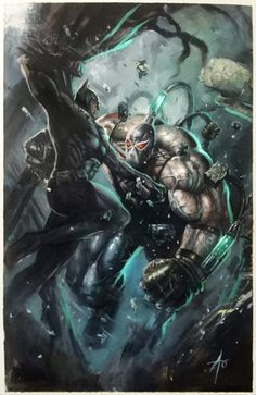 Batman vs Bane by Rudy Ao Bane Batman, Im Batman, Spiderman, Batman Ninja, Batman Stuff, Marvel Dc Comics, Dc Comics Art, Batman Artwork, Batman Wallpaper