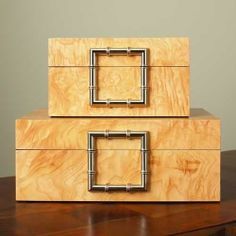 The beautiful light wood finish on the Bamboo Olive Ash Burl Jewelry Box lets the natural wood grain show through, making it a beautiful addition. Jewelry Chest, Jewelry Box, Decorative Objects, Decorative Boxes, Book And Frame, Bamboo Box, Candle Box, Small Sculptures, Chinoiserie Chic