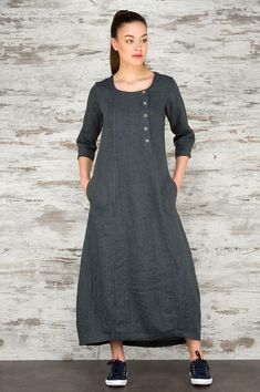 100% PURE LINEN DRESS DARK GREY LINEN DRESS Dark grey 100% linen dress with 3/4 sleeves. Its been specially washed in the manufacturing process, therefore is much softer and shrink-resistant. Perfect for casual everyday to wear. Free style comfortable dress for you. The dress back is a