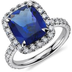 Blue Nile Cushion Tanzanite and Diamond Ring in 18k White Gold (4.33... (€6.275) ❤ liked on Polyvore featuring jewelry, rings, accessories, engagement rings, jewels, diamond jewelry, 18k ring, round diamond ring and cushion cut ring