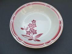 joli plat ancien en porcelaine opaque / BADONVILLER/motif floral bordeaux