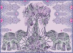 elephants dreamlike parenthesis- digital print on paper or giclee print on canvas- room decor- wall hanging-gift-healing symbols by KetubahandJudaica on Etsy