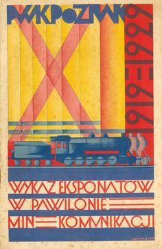 The National Exhibition Transport Pavillion Exhibits List cover (1929) by Polish graphic designer & illustrator Halina Kosmólska. via 50 watts