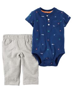 Baby Boy 2-Piece Bodysuit & French Terry Pant Set  Crafted in super soft cotton with an allover print, this 2-piece set keeps him handsome and comfy for all-day play.