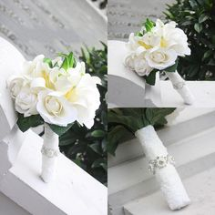 Artificial Rose Lily 2015 Bridal Bouquet New Fashionable Lace Bead Edge Wedding Supplies Bouquet Wedding Faovers Bride Hang Holding Flower #dhgatePin
