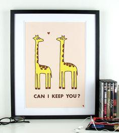 Cute giraffes in love quote poster heart giraffe pop art by kyd13, $14.95